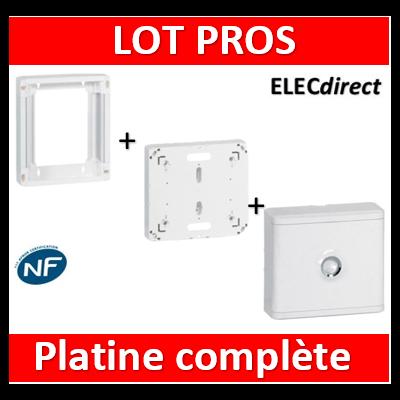 Legrand - Platine disjoncteur + rehausse pour platine + Cache 13M blanc - 401380+401191+401185