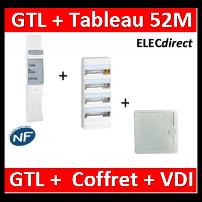 Legrand - Kit GTL 13M complet + tableau 52M + VDI 4RJ45 casanova - 030037+401214+CTRIEGT14X+porte