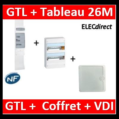 Legrand - Kit GTL 13M complet + tableau 26M + VDI 4RJ45 casanova - 030037+401212+CTRIEGT14X+porte