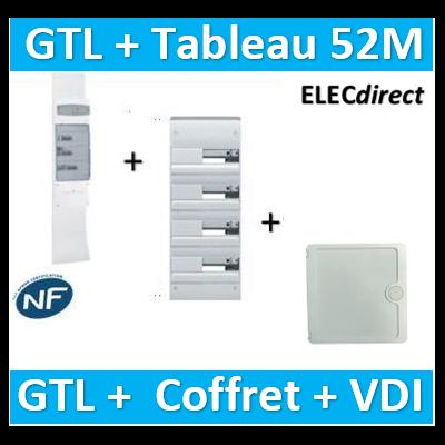 Hager - Kit GTL 13M complet + tableau 52M + VDI 4RJ45 casanova - JK213D+GD413D+CTRIEGT14X+porte