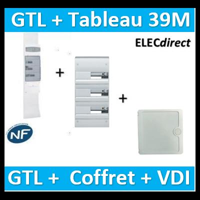 Hager - Kit GTL 13M complet + tableau 39M + VDI 4RJ45 casanova - JK213D+GD313D+CTRIEGT14X+porte