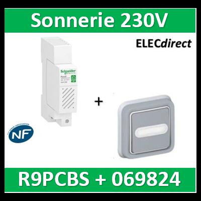 Schneider - Sonnerie modulaire SO'Clic 230V - 80dB + Poussoir encastré Legrand - R9PCBS+069824