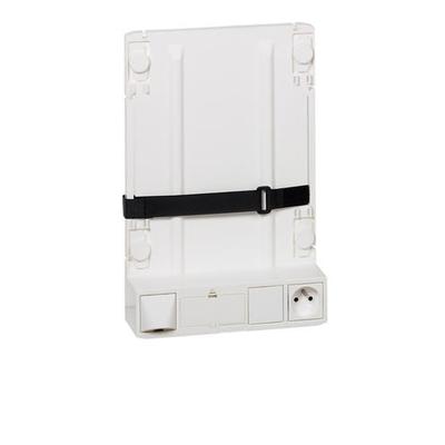 Legrand - Support box opérateur ADSL et fibre avec 1 prise 2P+T et 4 cordons de liaison box et coffret - 413149