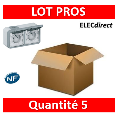 Legrand Plexo - Double prise de courant 2P+T 16A 230V - horizontal - IP55/IK07 - 069672x5+069562x5