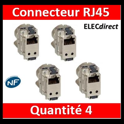 Legrand - LOT DE 4 Connecteurs Cat.6 RJ45 STP pour coffret double PLAY et basique avec brassage - 413083x4