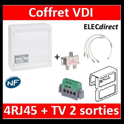 Legrand - Coffret VDI GRADE 2 avec brassage STP - 4 RJ45 / TV 2 sorties - 413248