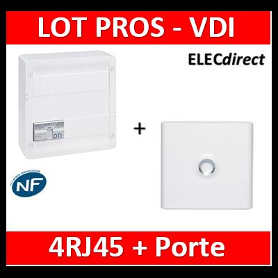 Legrand - Coffret VDI GRADE 2 avec brassage - 4 RJ45 / TV 2 sorties + Porte blanche - 413248+401331