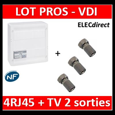 Legrand - Coffret VDI GRADE 2 avec brassage - 4 RJ45 / TV 2 sorties + 3 fiches F - 413248+3 fiches F