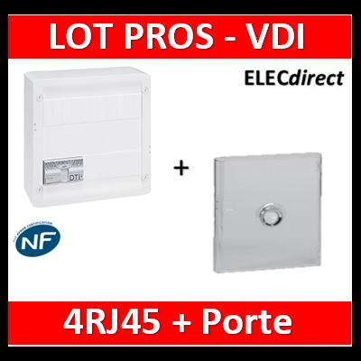 Legrand - Coffret VDI GRADE 2 avec brassage - 4 RJ45 / TV 2 sorties + Porte transparente - 413248+401341