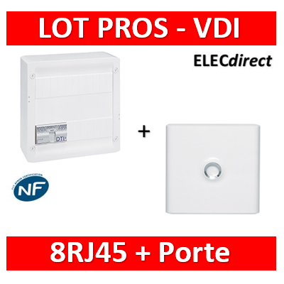 Legrand - Coffret VDI GRADE 2 avec brassage STP - 8 RJ45 / TV 2 sorties + porte - 413248+413083x4+401331