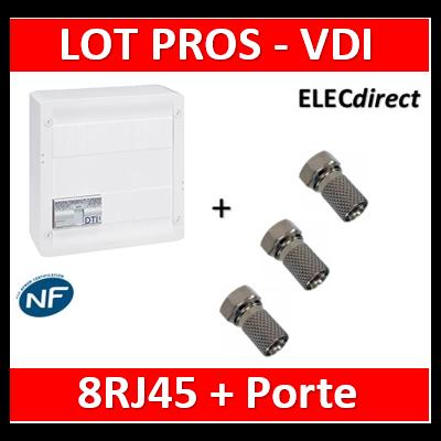 Legrand - Coffret VDI GRADE 2 avec brassage STP - 8 RJ45 / TV 2 sorties  + 3 fiches F - 413248+413083x4+ 3 fiche F