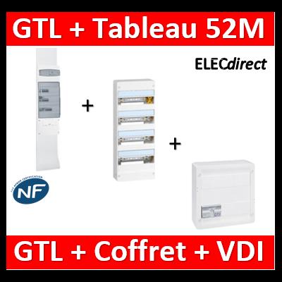 Legrand - Kit GTL 13M complet + tableau 52M + VDI 8RJ45 - 030037+401214+413248+413083x4
