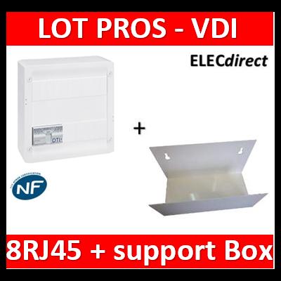 Legrand - Coffret VDI GRADE 2 - 8 RJ45 + support BOX Casanova - 413248+413083x4+ETTRI250