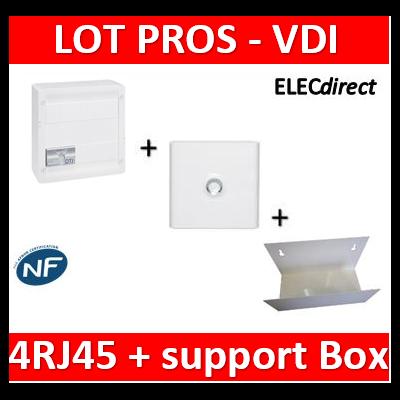 Legrand - Coffret VDI GRADE 2 - 4 RJ45 + Porte + Support Box Casanova - 413248+401331+ETTRI250