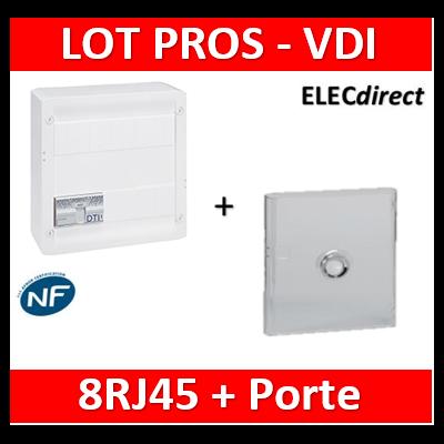 Legrand - VDI GRADE 2 avec brassage - 8 RJ45 / TV 2 sorties + Porte transparente - 413248+413083x4+401341