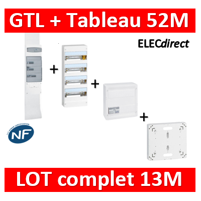 Legrand - GTL 13 + tableau 52M + VDI 4RJ45 + platine - 030037+401214+413248+401191