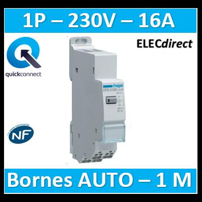 Hager - Télérupteur silencieux - Unipolaire 16A - 230V - AUTO - EPS410B
