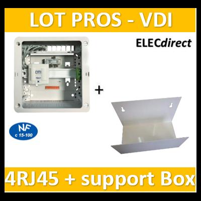 Casanova - Coffret sans porte VDI Grade 1 avec brassage - 4 RJ45 - 3 TV + support BOX - CTRIETG14X+ETTRI250