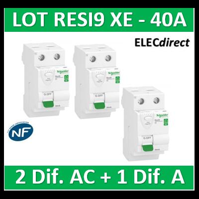 SCHNEIDER - LOT de 3 inter dif. XE - (2-ID 2x40A 30mA AC/1 - ID 2x40A 30mA A) R9ERC240x2+R9ERA240