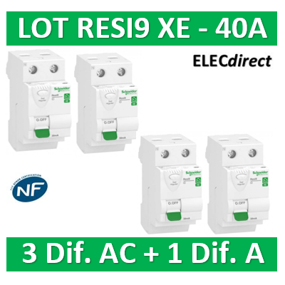 SCHNEIDER - LOT de 4 inter dif. XE - (3-ID 2x40A 30mA AC/1 - ID 2x40A 30mA A) R9ERC240x3+R9ERA240