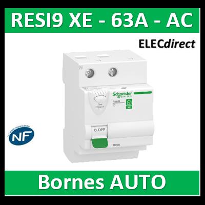 SCHNEIDER - Inter différentiel RESI9 XE 2P - 63A - 30ma - Type AC - R9ERD263