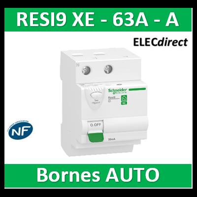 SCHNEIDER - Inter différentiel RESI9 XE 2P - 63A - 30ma - Type A - R9ERB263