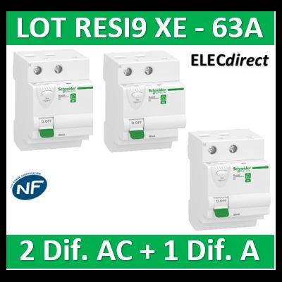SCHNEIDER - LOT de 3 inter dif. XE - (2-ID 2x63A 30mA AC/1 - ID 2x63A 30mA A) R9ERD263x2+R9ERB263