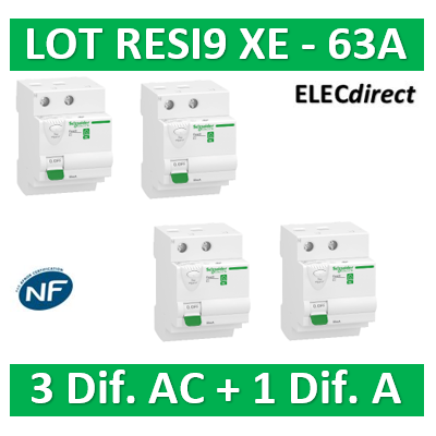 SCHNEIDER - LOT de 4 inter dif. XE - (3-ID 2x63A 30mA AC/1 - ID 2x63A 30mA A) R9ERD263x3+R9ERB263