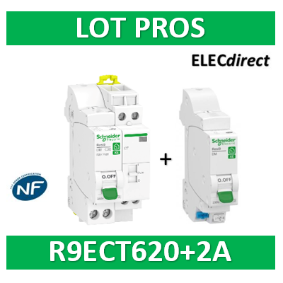 Schneider - LOT PROS - Contacteur J/N heures creuses + DPN 2A XE + DPN 20A XE - R9ECT620+R9EFC602