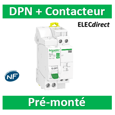 Schneider - Contacteur RESI9 XE CT J/N heures creuses Bipolaire +Disj. 20A P+N - 2F - 20A - R9ECT620