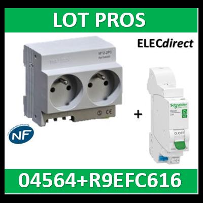 Schneider - LOT PROS - 2xPC 2P+T Modulaire précâblé DIGITAL + disjoncteur 16A XE - 04564+R9EFC616