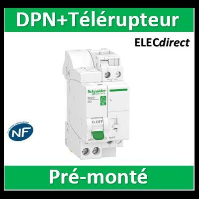Schneider -  combiné disj+télérupteur RESI9 TL - Unipolaire 16A + disjoncteur 16A XE AUTO - 250V - R9ECL616