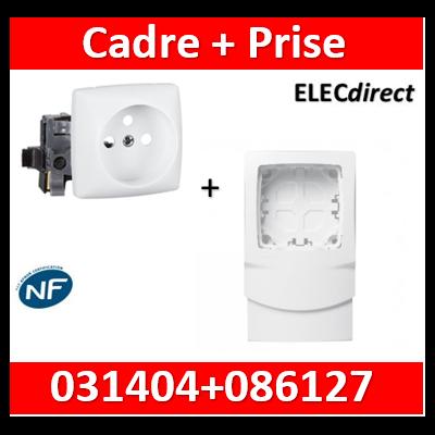 Legrand Oteo - Cadre 1 poste + prise 2P+T 16A pour moulures DLPlus épaisseur 12,5mm - blanc - 031404+086127