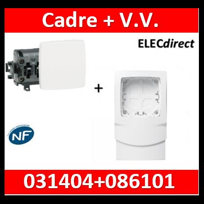 Legrand Oteo - Cadre 1 poste + V.V. pour moulures DLPlus épaisseur 12,5mm - blanc - 031404+086101