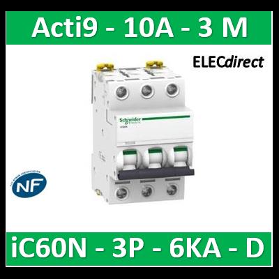 Schneider - Disjoncteur Acti9 - iC60N - 3P - 10A - 6kA - courbe D - A9F75310