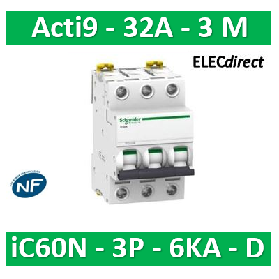 Schneider - Disjoncteur Acti9 - iC60N - 3P - 32A - 6kA - courbe D - A9F75332
