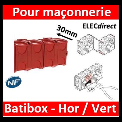 Legrand Batibox - Boîte à sceller 2 postes prof. 30mm - 080131x2
