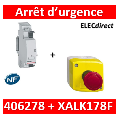 Legrand - Déclencheur à émission de tension 110 à 415V (ET) + arrêt d'urgence Schneider - 406278+XALK178F