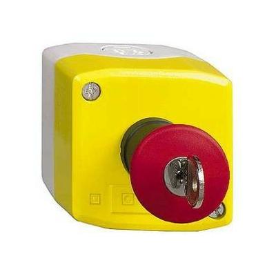 Schneider - Harmony boite jaune - 1 arrêt d'urgence rouge Ø40 déverrouillage à clé - 1F+1O - SCHXALK188E