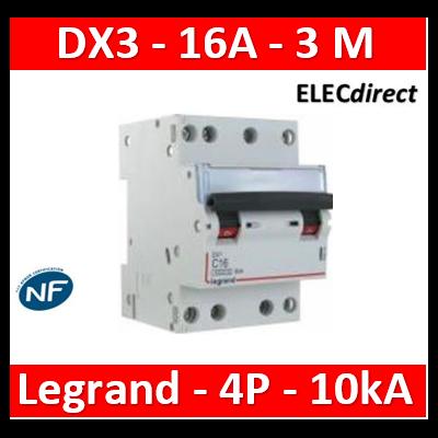 Legrand - Disjoncteur 4P DX3 16A - 10kA - courbe C - 407907