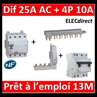 LEGRAND - dif. DX3-ID 4P 25A - 30mA - AC + Module 4P + Peigne 13M + Disj. 4P 10A - 411660+406301+405201+406908