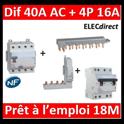 LEGRAND - dif. DX3-ID 4P 40A - 30mA - AC + Module 4P + Peigne 18M + Disj. 4P 16A - 411661+406301+405202+406910