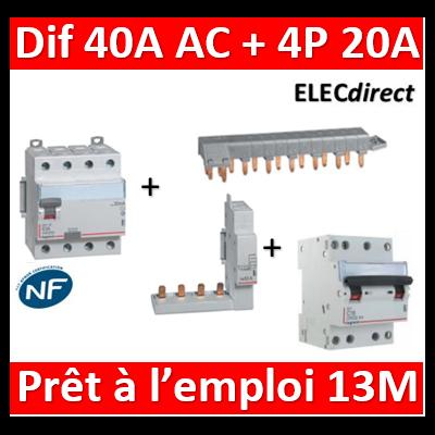 LEGRAND - dif. DX3-ID 4P 40A - 30mA - AC + Module 4P + Peigne 13M + Disj. 4P 20A - 411661+406301+405201+406911