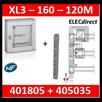 Legrand - Coffret 120 modules - 5 rangées de 24M + peigne vertical tétra 4P - XL3 160 - 401805+405035