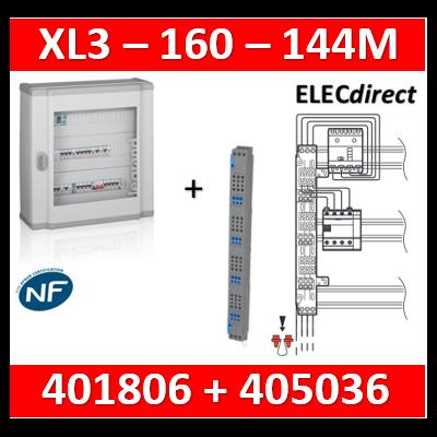 Legrand - Coffret 144 modules - 6 rangées de 24M + peigne vertical tétra 4P - XL3 160 - 401806+405036