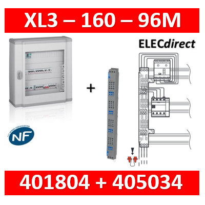 Legrand - Coffret 96 modules - 4 rangées de 24M + peigne vertical tétra 4P - XL3 160 - 401804+405034