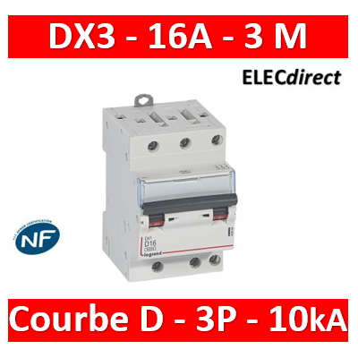 Legrand - Disjoncteur DX³6000 10kA arrivée haute et départ bas à vis 3P 400~ - 16A - courbe D - pour peigne HX³ - 408068