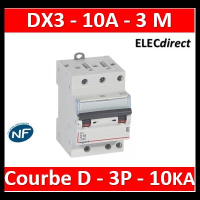 Legrand - Disjoncteur DX³6000 10kA arrivée haute et départ bas à vis 3P 400~ - 10A - courbe D - pour peigne HX³ - 408067