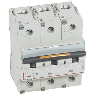 Legrand - Disjoncteur DX³ 25kA arrivée haute et départ bas à vis 3P 400V~ - 80A - courbe C - 4,5 modules - 409788