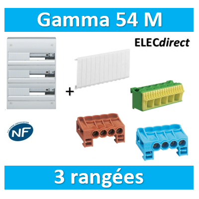 Hager - Coffret GAMMA 54 Modules - 3 Rangées de 18M - GD318A